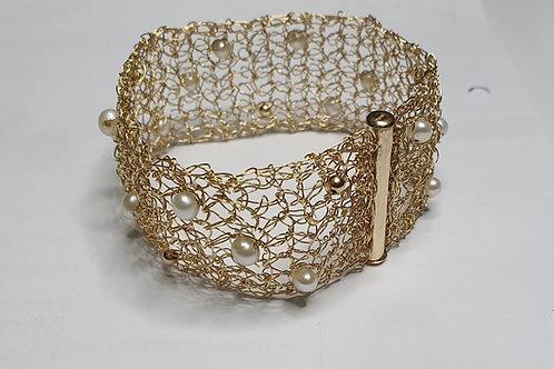 Armband mit Süßwasserperlen, gold-filled, 30mm breit