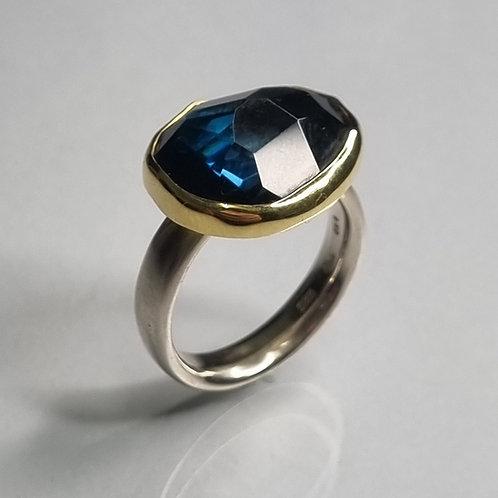 Ring aus 925er Silber, 750er Gold  Lodon Topas