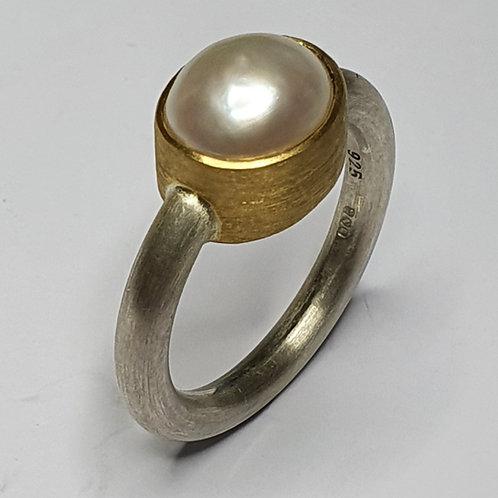 Ring: 925er Silber, 900er Gold, Süßwasserperle