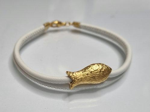 Armband: Leder, 925er Silber,  vergoldet