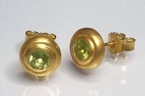 Ohrstecker aus 925er Silber, vergoldet  , Peridot