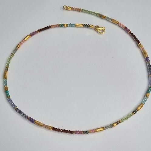 Collier aus Edelsteinen mit 925er Silber, vergoldet