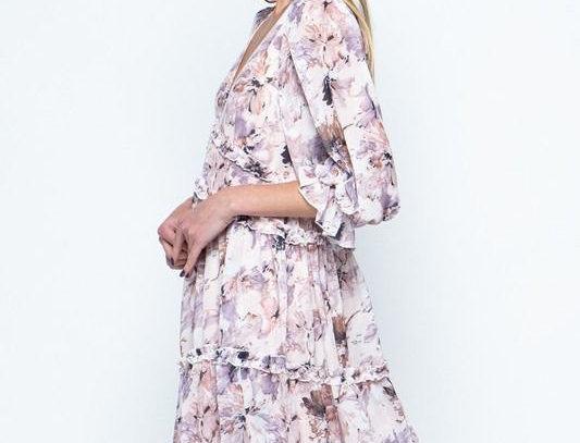 Lilac Flower Mix Mini Dress