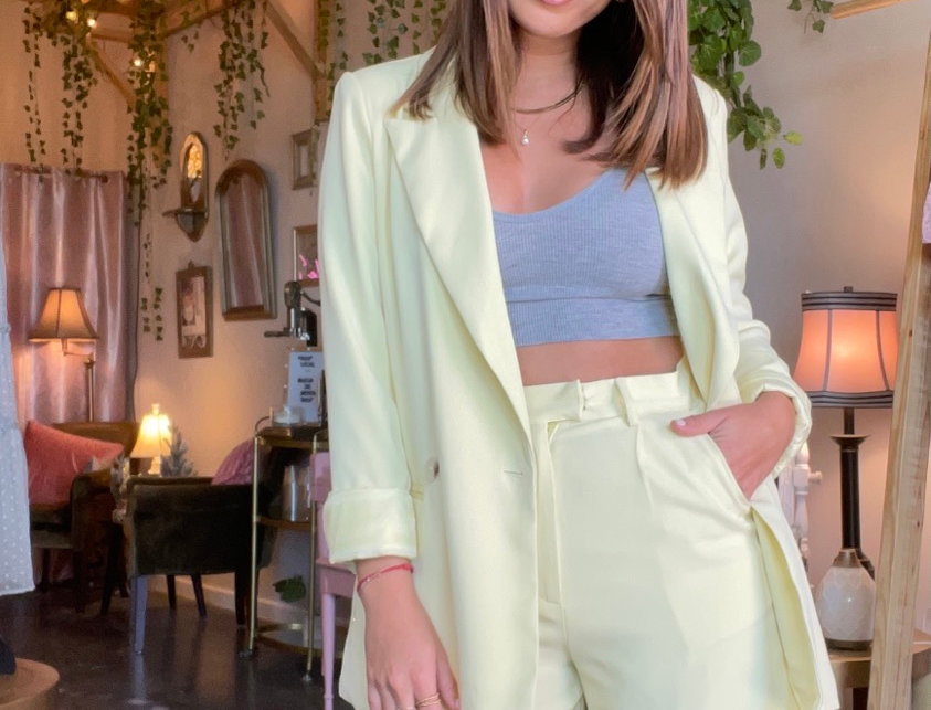 Perrier Amarelo Doble Breasted Blazer