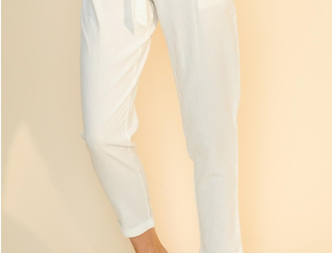Tao Paper High Waisted Pants- White