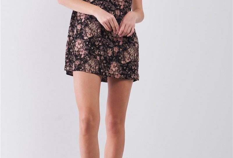 Romantic Print Lace Mesh Detail Racer Back Mini Dress