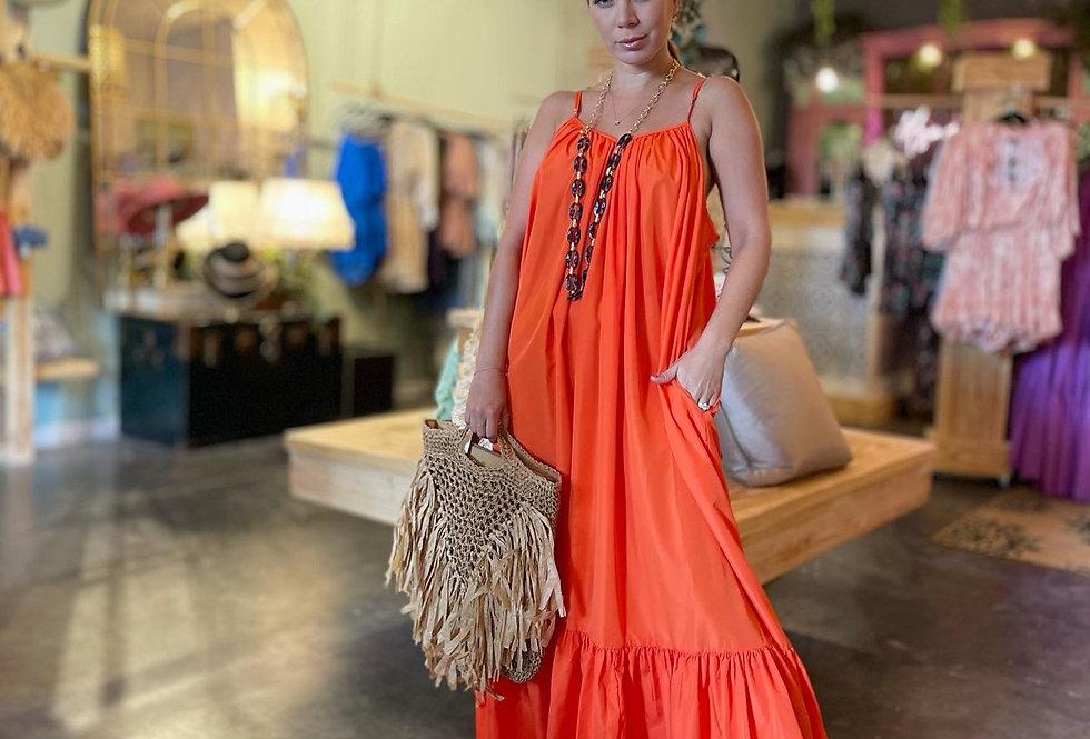 Río Maxi Dress -Laranja