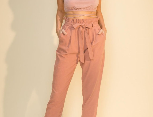Tao Paper High Waisted Pants- Mauve