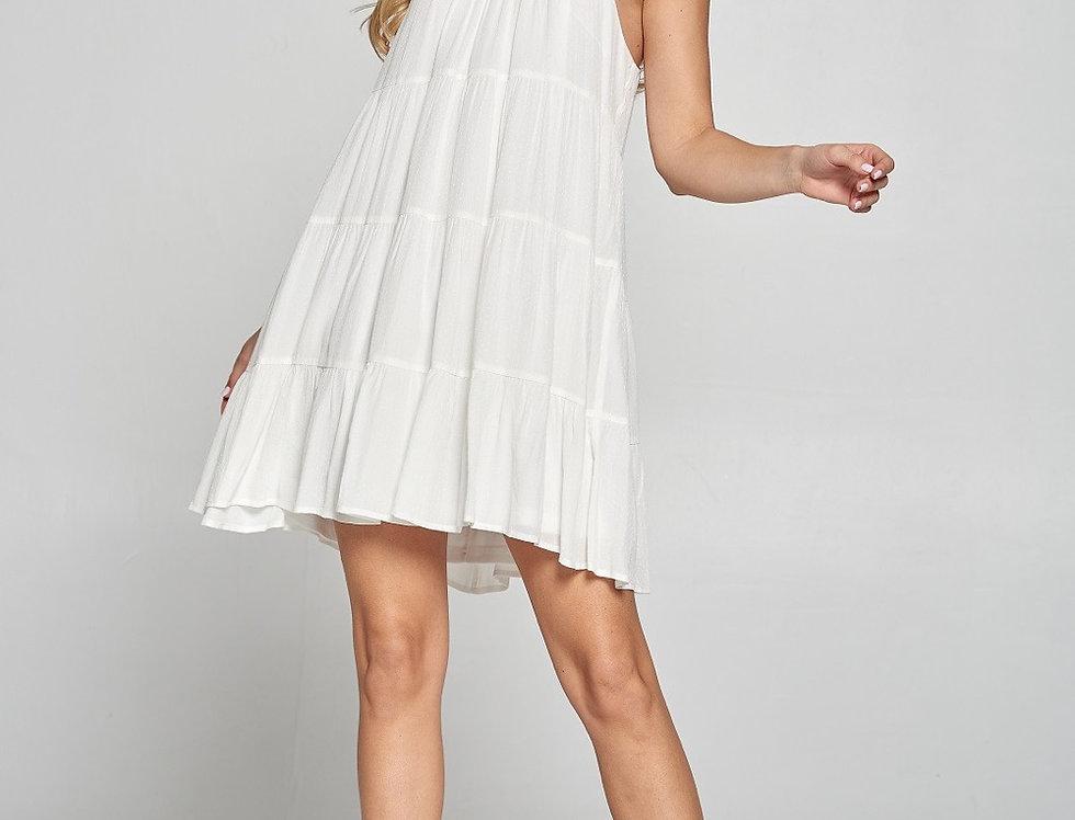 Bianca Halter White A Line Dress