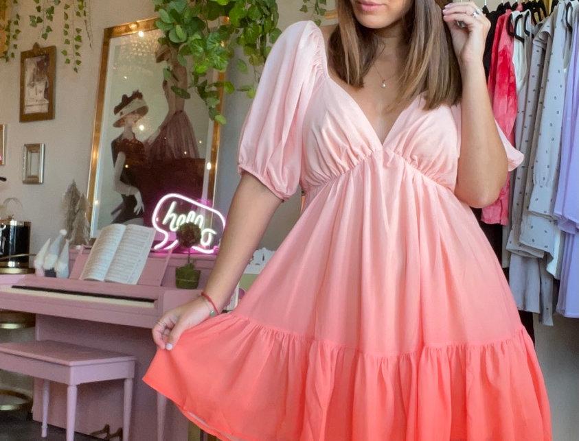 Laranja Ombré Mini Dress