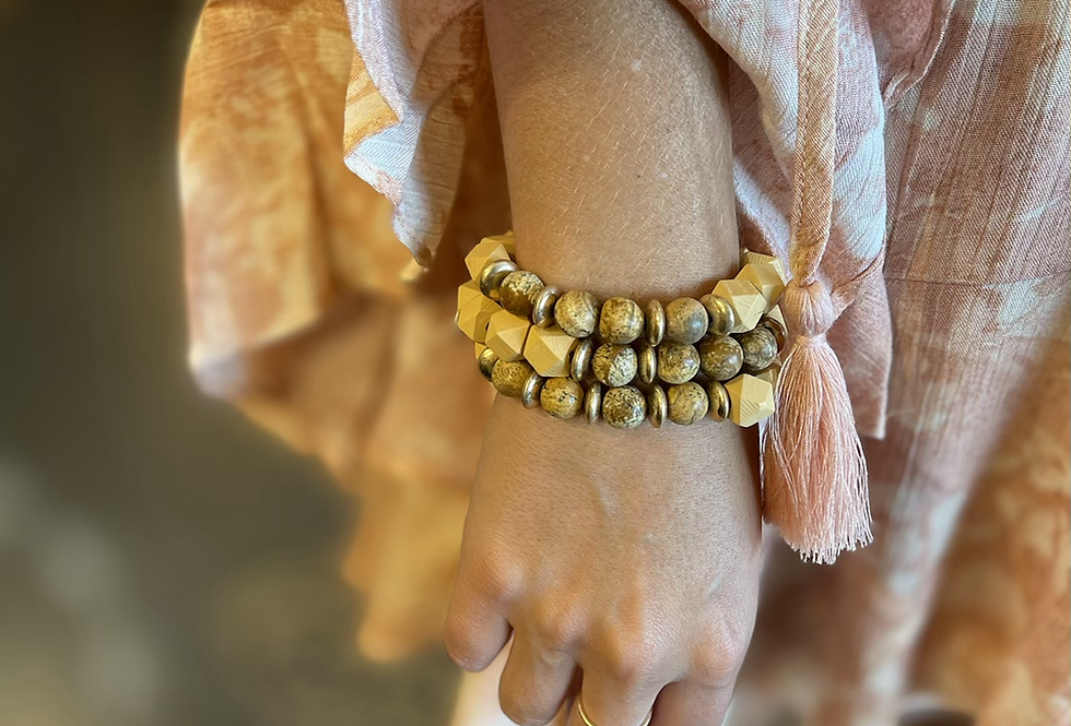 Wood & Stones Bracelets - Beige Set of 3