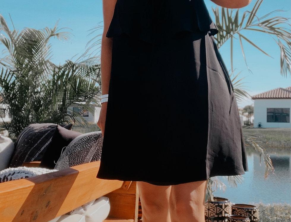 Nova Flowy Ruffle Black Dress
