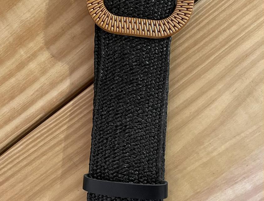 Beta Small Square Buckle Belt - Black