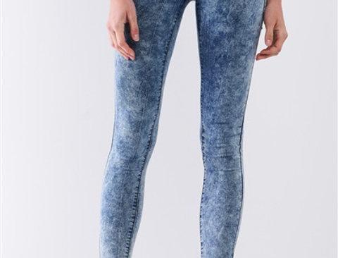 Blue Acid Wash Denim Effect High-Waist Skinny Legging Pants