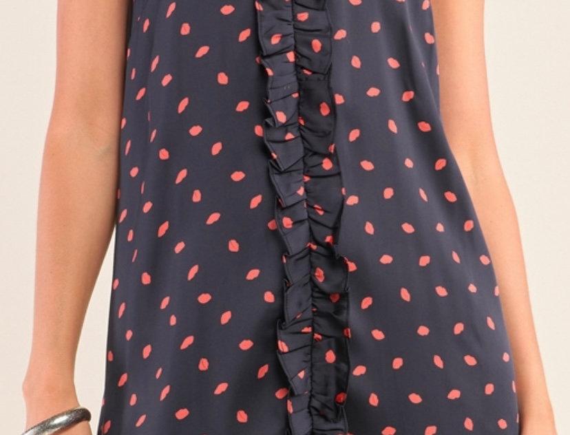 Kisses Black Satin Sleeveless V-Neck Lip Print Ruffle Detail Razor