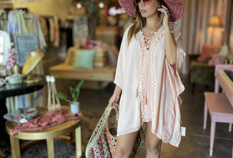 Bea Blush Pompoms Cover Up ( one size)