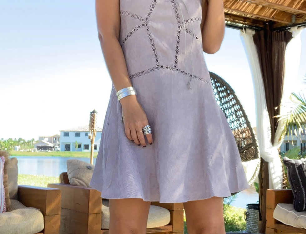 Mocha Grey Corduroy Mini Dress