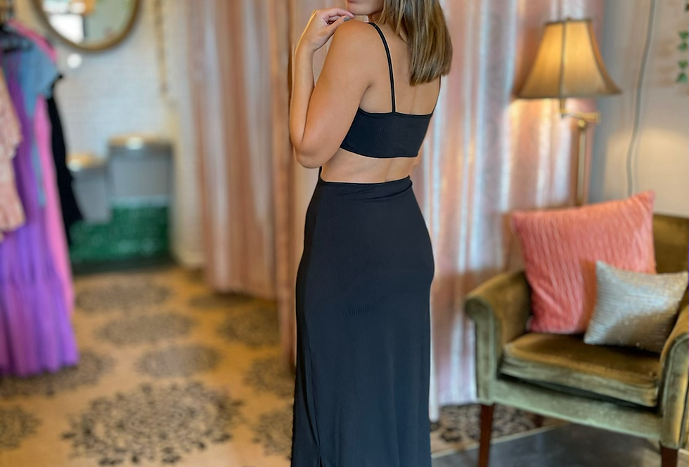 Bahía Cut Out Maxi Dress - Black