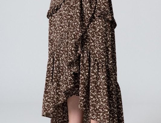 Chocolat Midi Ruffles Asymetric Skirt