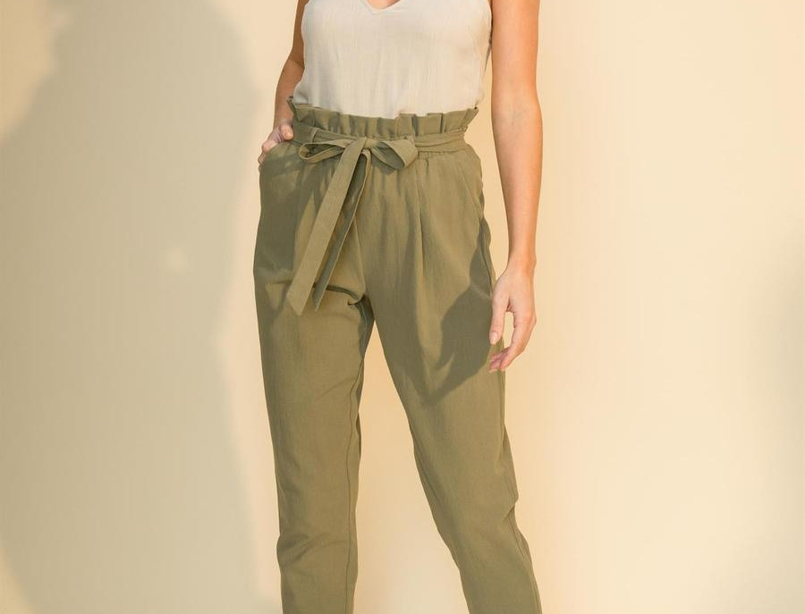Tao Paper High Waisted Pants- Olive