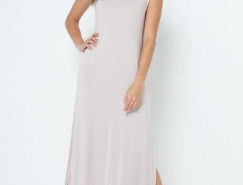 Zoe Nude Shoulder Pads Maxi Dress