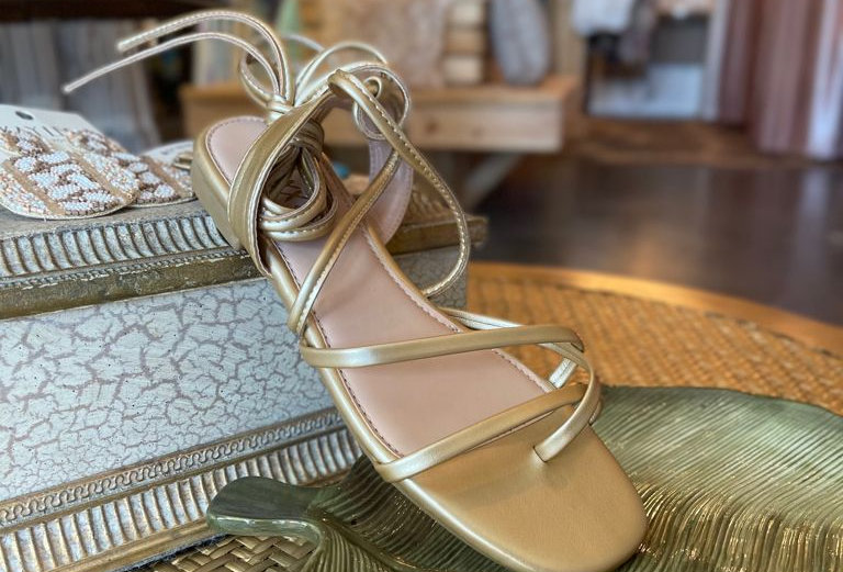 Tulum Ankle Strap Sandals Gold Mate