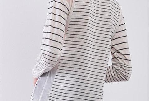 Ivory & Black Striped Long Sleeve Sheer Mesh Cut-Ins Detail  Top