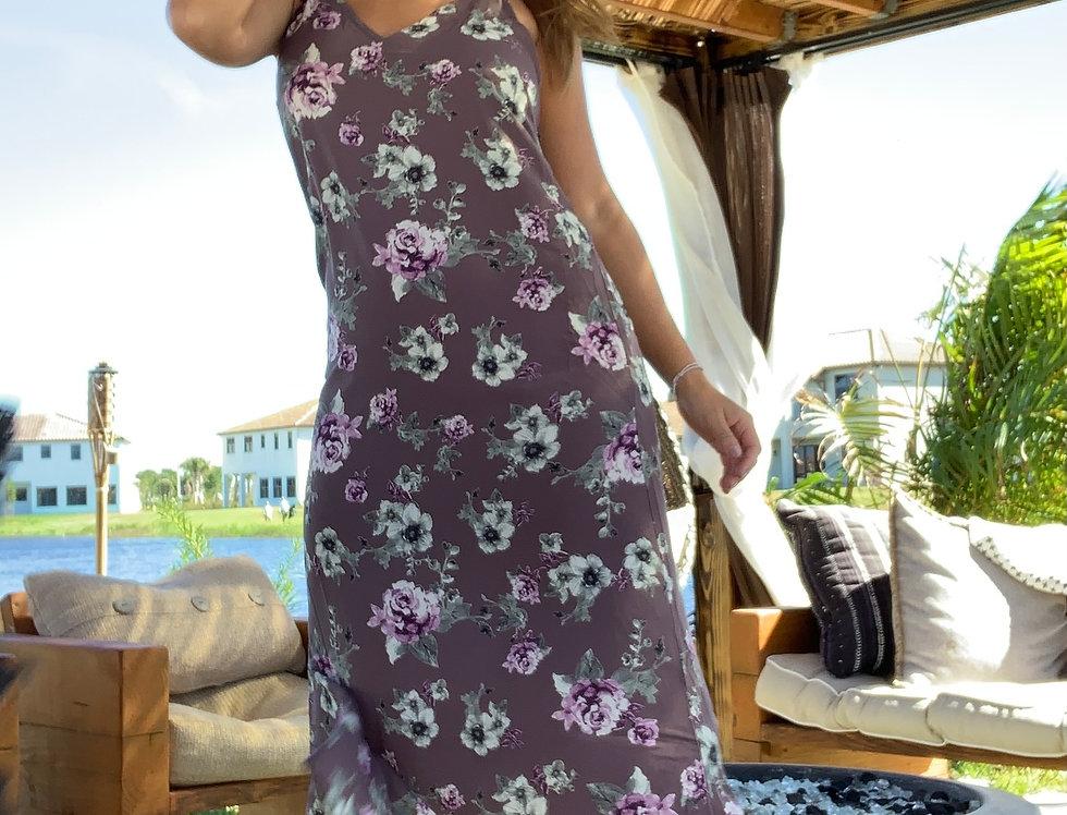 Charcoal Multi Floral Print Sleeveless V-Neck Asymmetrical Wrap Ruffle