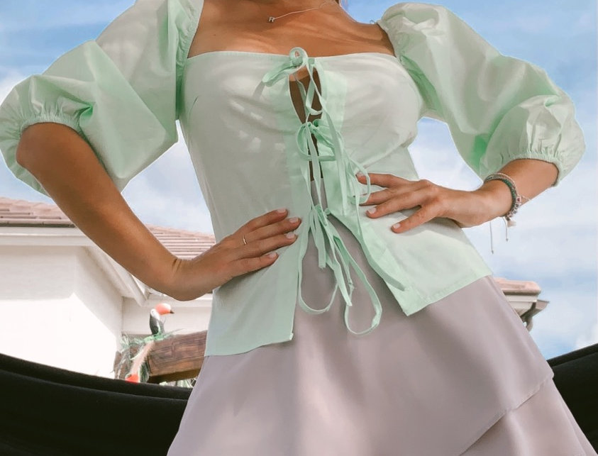 Mint Bubble Sleeves Top