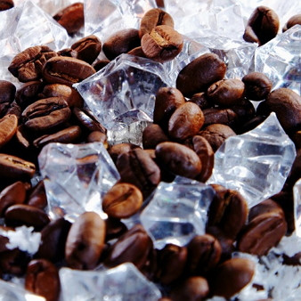 Coffee beans on ice
