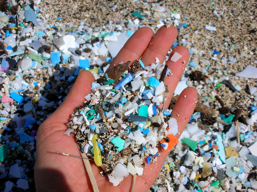 A handful of plastic scooped from the most polluted beach in the USA. Photo credit: Anna Cummins