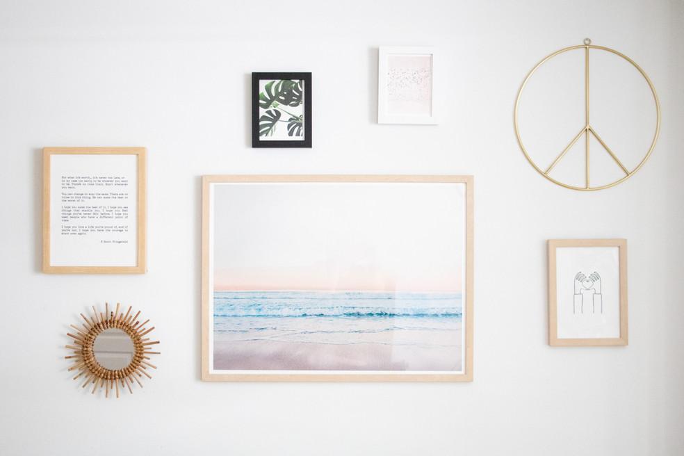 Gallery wall in apartment designed by Miami based interior design studio KJ Design Collective