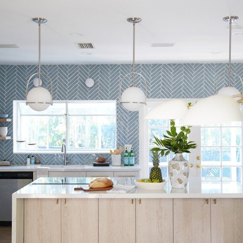 Bright, and bold modern kitchen with oak wood cabinitry