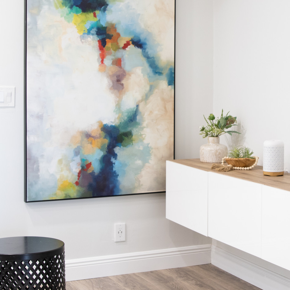 Modern and colorful family room in Boca Raton designed by Miami based Interior Designer KJ Design Collective