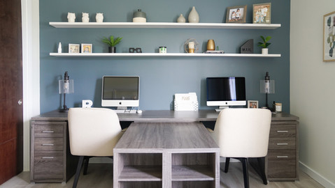 Modern and casual shared office design by Miami based interior designer KJ Design Collective