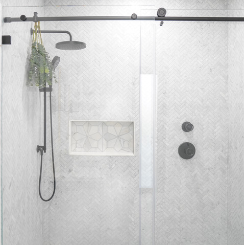 Modern bathroom with classic elements and marble mosaic