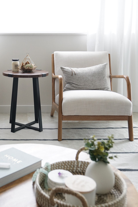 Accent chairs in casual modern living room by KJ Design Collective