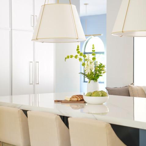 Large kitchen island with Rejuvenation Pendants