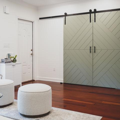 Sage Green Barn Doors with a Geometric pattern