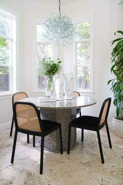 Modern, Light and airy breakfast nook with marble table