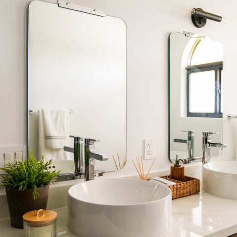 Modern bathroom with double vanity