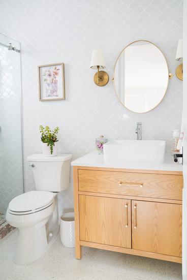 Modern feminine kids bathroom