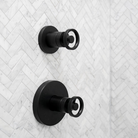 Herringbone mosaic shower