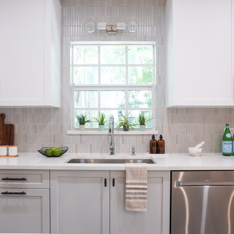 Bright, white and airy galley kitchen