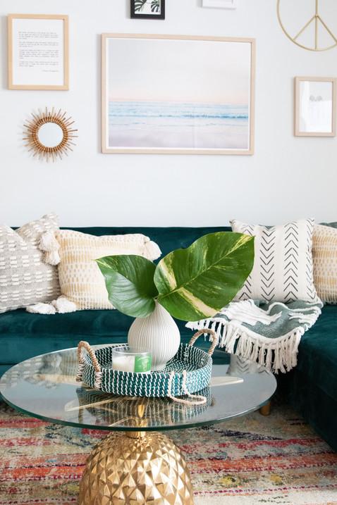 Pineapple table from CB2 in apartment designed by Miami based interior design studio KJ Design Collective