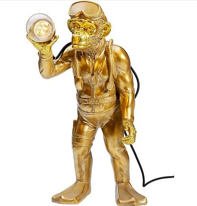 lampe à poser singe doré plongeur