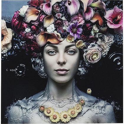 Tableau en verre Flower Art Lady 120x120cm