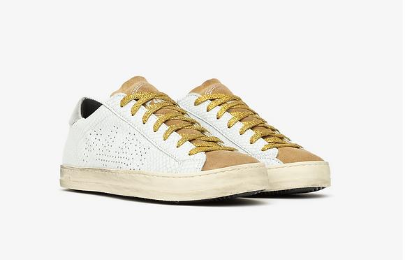 Basket p448 cuir blanc lacet gold