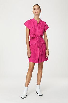 Robe Magda Neon Pink Raw Silk