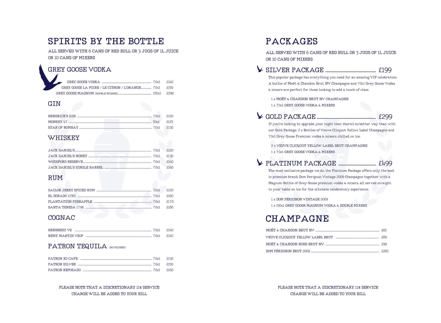 VIP Packages & Bottles